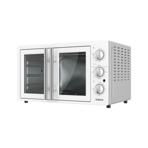 Galanz 1.5 Cu Ft Retro French Door Toaster Oven with Air Fry in Milkshake White