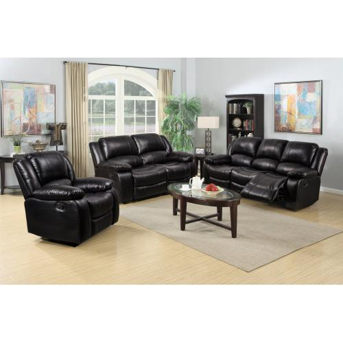 8026 Air Leather Black Loveseat