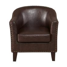Faux Leather Barrel Accent Chair in Brown
