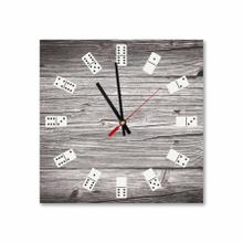 Square Wooden Dominoes Acrylic Wall Clock