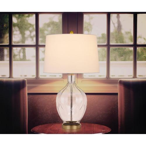 150W 3 way Bancroft glass table lamp with hardback taper drum fabric shade