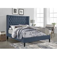 7535 Wing Back Fabric Platform Bed - QUEEN