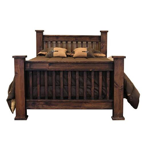 L.M.T. Rustic and Western Imports - Queen Mission Bed Medio Finish