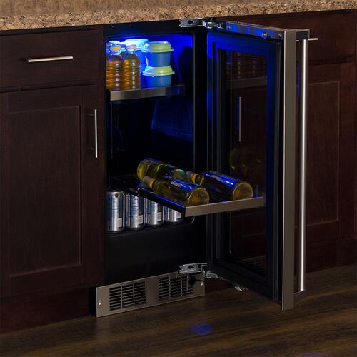 Marvel - 15-In Professional Built-In Beverage Center with Door Style - Stainless Steel Frame Glass, Door Swing - Right