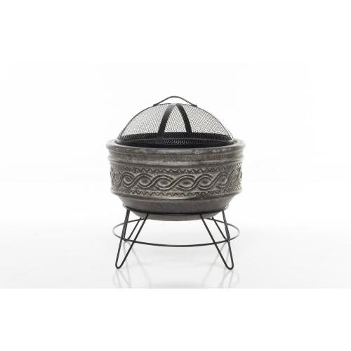 Earthenware Large Wavy Band Fire Pit w/ stand + screen