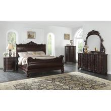 Saillans Cherry Finish Solid Wood Construction Bedroom Set, Queen & King bed, Dresser and Mirror, Nightstand, Chest, King