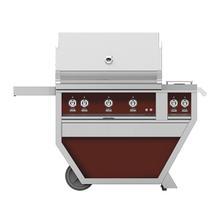 """36""""grill, (2)trellis, (1)sear, Rotis, DLX.CART W/DBL.SIDE Burner-ng-burg."""