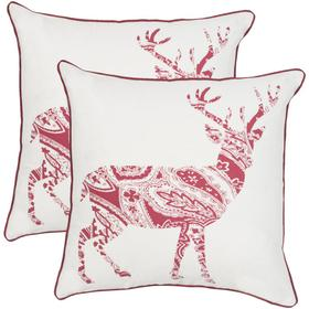 Paisley Reindeer Pillow - Red / White