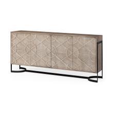 See Details - Rivien Brown/White Solid Wood Frame Metal Leg 4 Door Sideboard