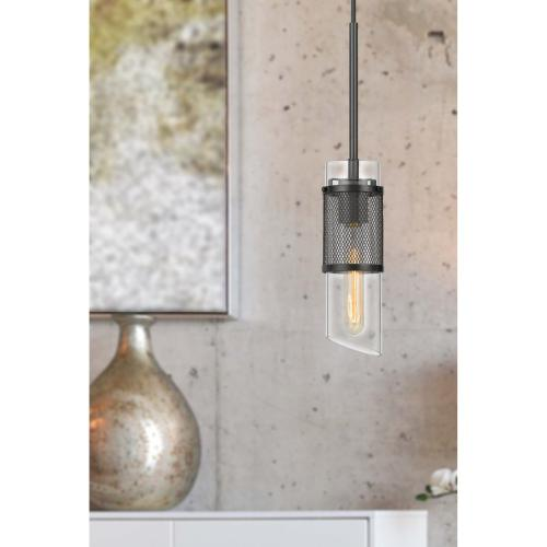 60W Savona double layer glass/metal mini pendant with mesh metal shade. (Edison bulb NOT included)