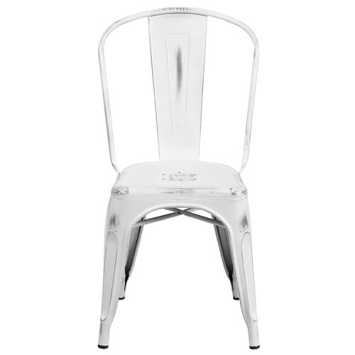 Commercial Grade Distressed White Metal Indoor-Outdoor Stackable Chair
