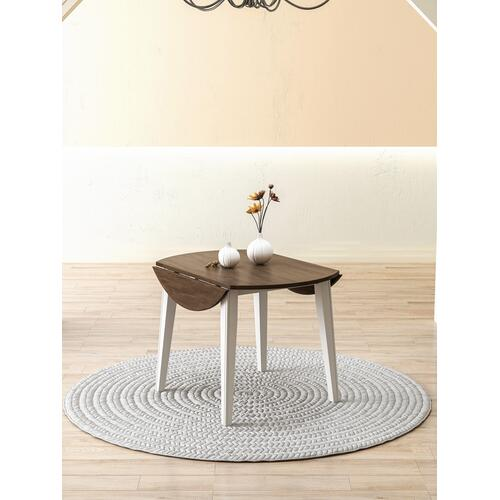 Merrill Creek Round Dropleaf Dining Table, Deep Brown & White 8208-4242