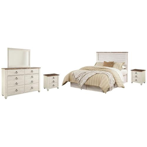 Product Image - Queen/full Panel Headboard With Mirrored Dresser and 2 Nightstands