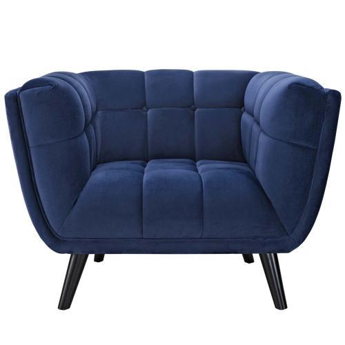 Bestow 3 Piece Performance Velvet Sofa and Armchair Set in Navy