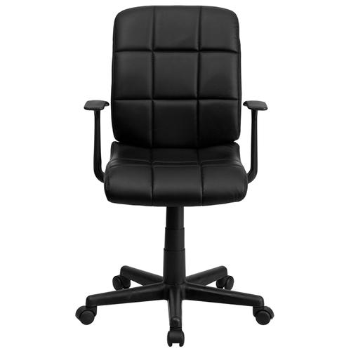 Gallery - Mid-Back Black Quilted Vinyl Swivel Task Office Chair with Arms