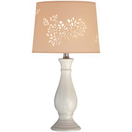 Gallery - Table Lamp, Ivory Ceramic Body/laser Cut Shade, E27 Cfl 13w