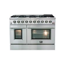 "48"" Galiano Gas Range FORNO ALTA QUALITA Pro-Style Gas 8 DEFENDI Italian Burners 107,000 BTU All Stainless Steel FFSGS6244-48"