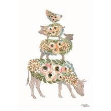 Floral Stacked Animals By Michelle Norman (small)(framed)