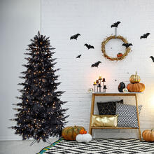 Fraser Hill Farm 5-Ft. Spooky Black Tinsel Tree with Clear Incandescent Lighting, HH050TINTREE-1BLK