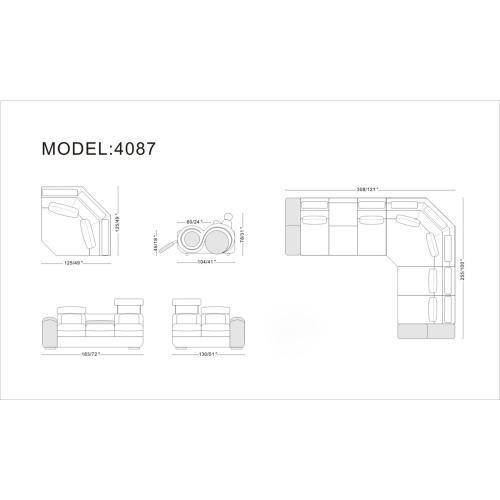 Divani Casa 4087 - Modern Leather Sectional Sofa