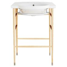 "Lowell 26"" Wood Console Bathroom Sink - Canvas White/Light Ash"