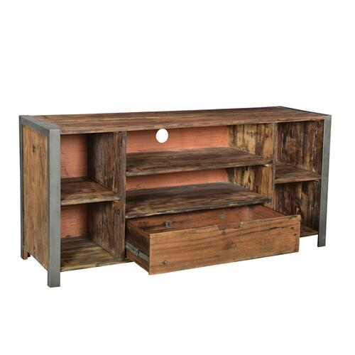 TV Console - Patina Wood/black Metal Finish