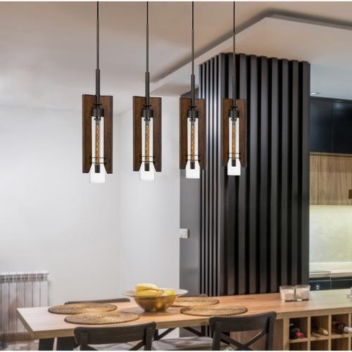 Cal Lighting & Accessories - 60W X 3 Almeria Wood/Glass 4 Light Pendant Fixture (Edison Bulbs Not included)