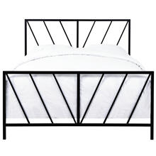 High Gloss Chevron Patterned Metal Queen Bed in Black, All-In-One