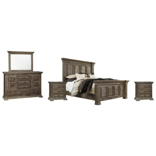 King Panel Bed With Mirrored Dresser and 2 Nightstands