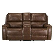 See Details - Winslow Manual Motion Glider Recliner Loveseat with Power Strip, Brown