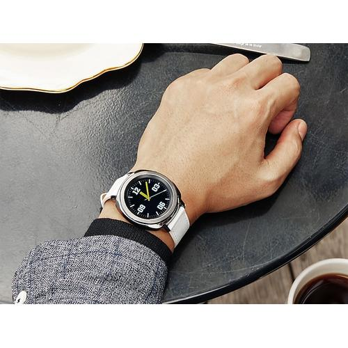 Samsung - Classic Leather Band for Galaxy Watch 42mm & Gear Sport, White