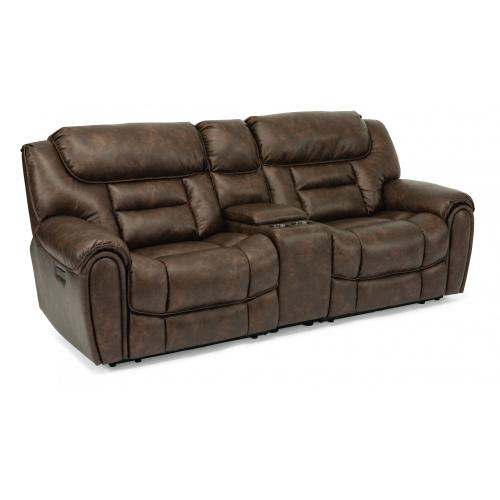 Buster Power Reclining Loveseat with Console & Power Headrests