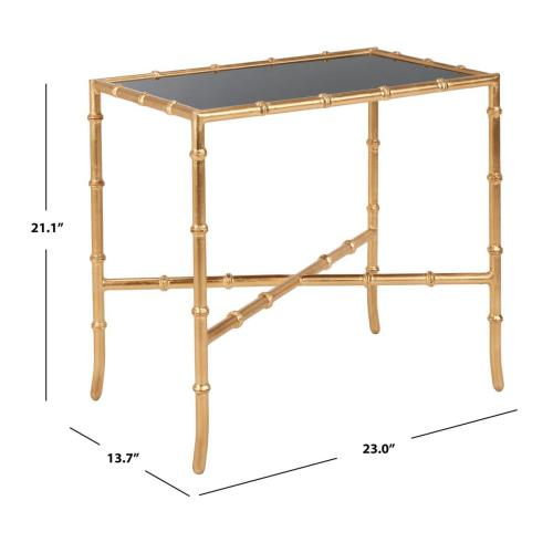 Chandler Gold Cross Base Accent Table - Black / Gold