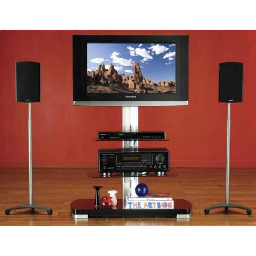 Black Adjustable Speaker Stands for Satellite Speakers up to 10 lbs