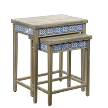Blue Medallion Tile Nested Side Table (2 pc. set)