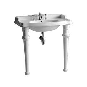 Isabella Collection large, rectangular china console with oval bowl, backsplash, ceramic leg supports, and chrome overflow. Product Image