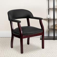 View Product - Black LeatherSoft Conference Chair with Accent Nail Trim