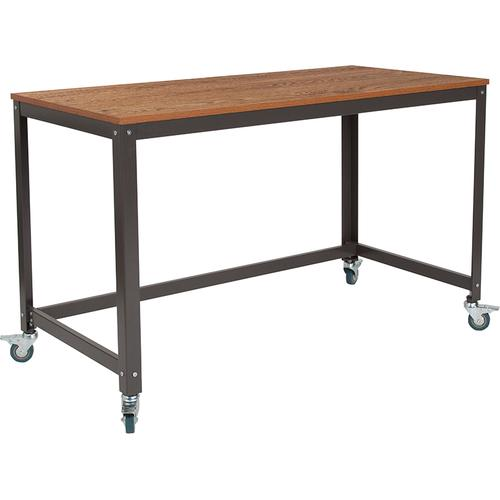 Flash Furniture - Livingston Collection Computer Table and Desk in Brown Oak Wood Grain Finish with Metal Wheels [NAN-JN-2522D-GG