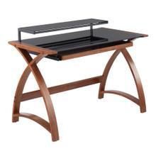 See Details - Bentley Office Desk - Walnut Wood, Black Glass