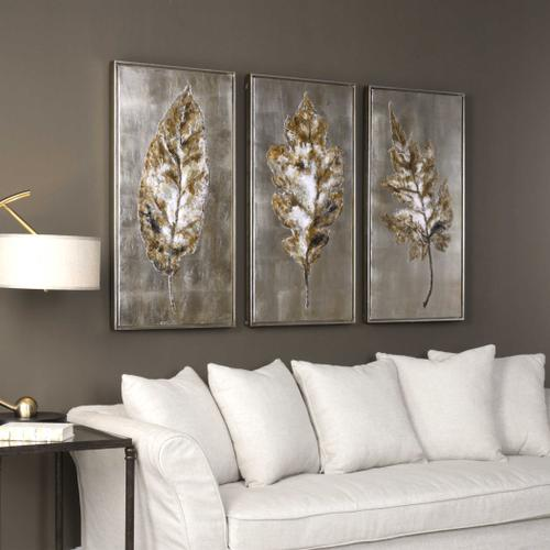 Champagne Leaves Hand Painted Canvases, S/3