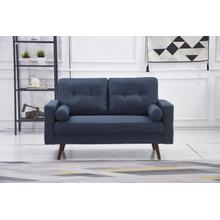 See Details - 8135 NAVY Linen Stationary Tufted Loveseat
