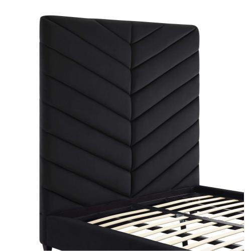 Product Image - Javan Black Velvet Bed in Queen