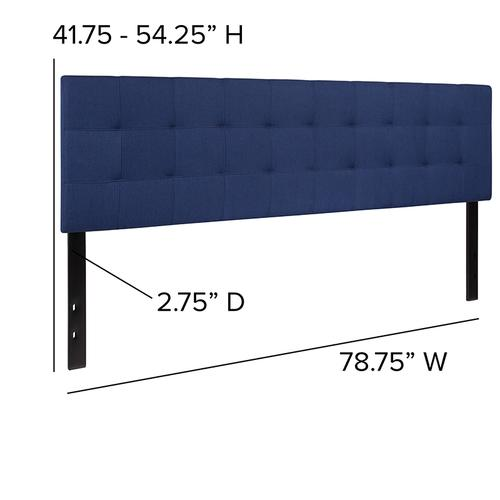 Bedford Tufted Upholstered King Size Headboard in Navy Fabric