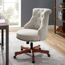 Upholstered Office Chair With Casters, Dark Walnut