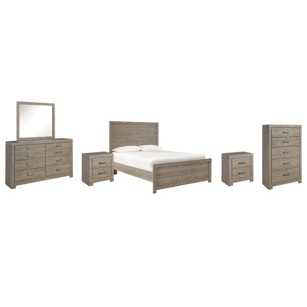 See Details - Full Panel Bed With Mirrored Dresser, Chest and 2 Nightstands