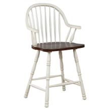 See Details - Windsor Counter Height Arm Stool - Antique White & Chestnut Brown (Set of 2)