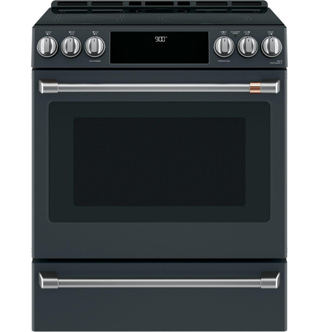 "Cafe30"" Smart Slide-In, Front-Control, Induction And Convection Range With Warming Drawer"