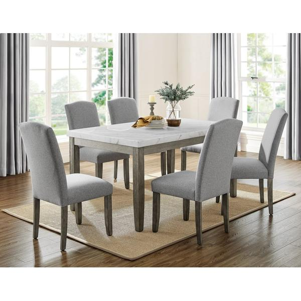 See Details - Emily 5-Piece White Marble Dining Set (Table & 4 Side Chairs)