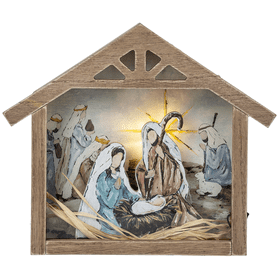 Light Up Nativity Box Plaque