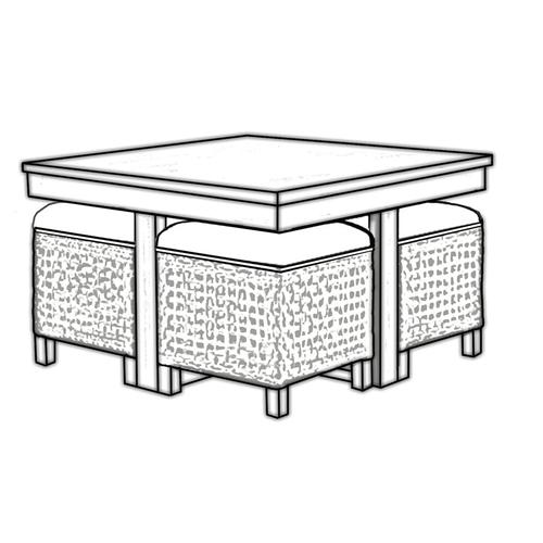Product Image - Hassock Table, Available in Vintage Smoke Finish Only.